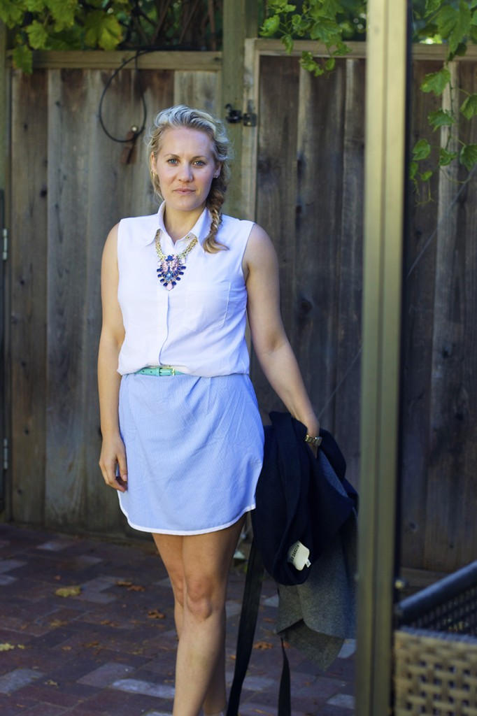 Sleeveless shirtdress statement necklace fashion blogger have need want 5