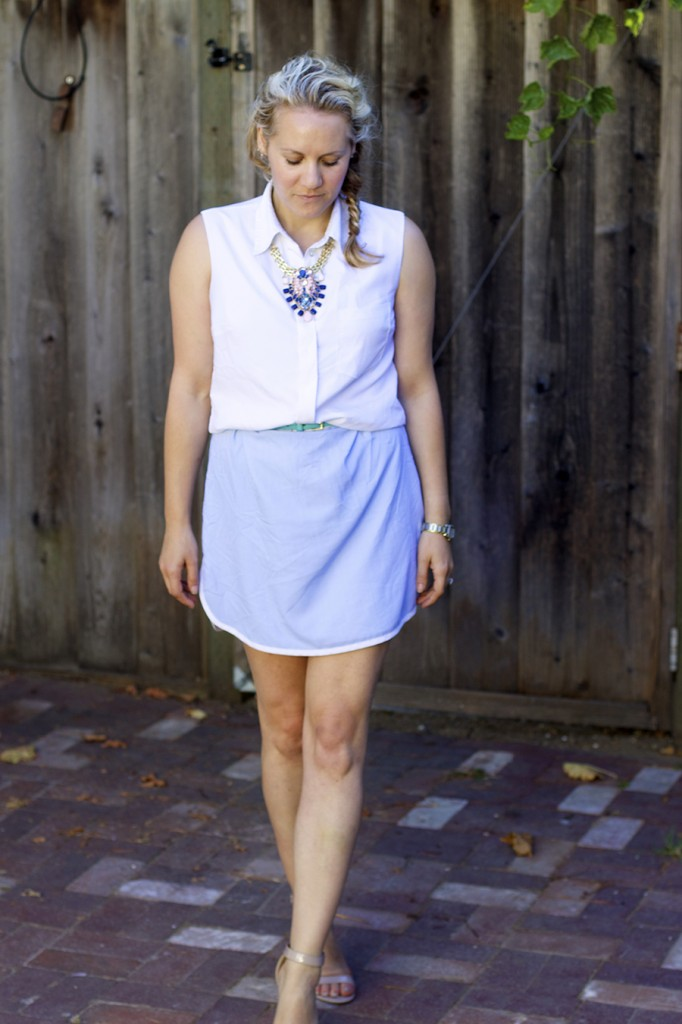 Sleeveless summer shirt dress statement necklace fashion blogger have need want 9
