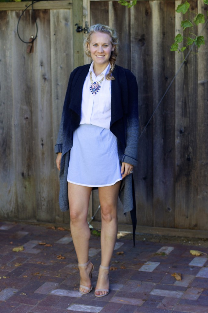 Sleeveless shirtdress statement necklace fashion blogger have need want