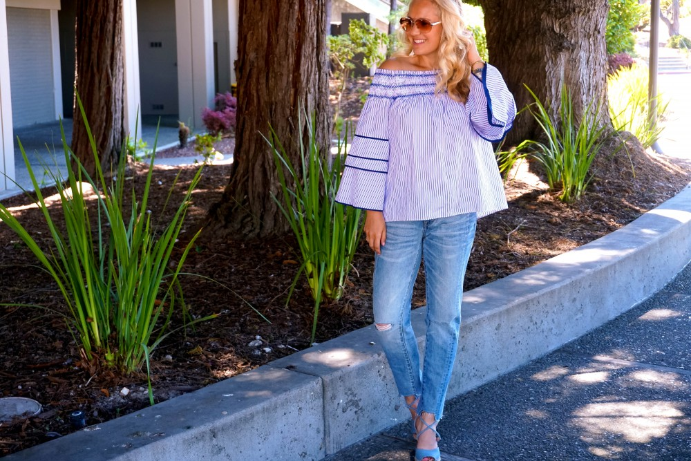 Striped Off-The-Shoulder Poplin Blouse-Parker New York-Summer Style-Outfit Inspiration-Have Need Want-Skinny Boyfriend Jeans-Espadrille Wedges 9