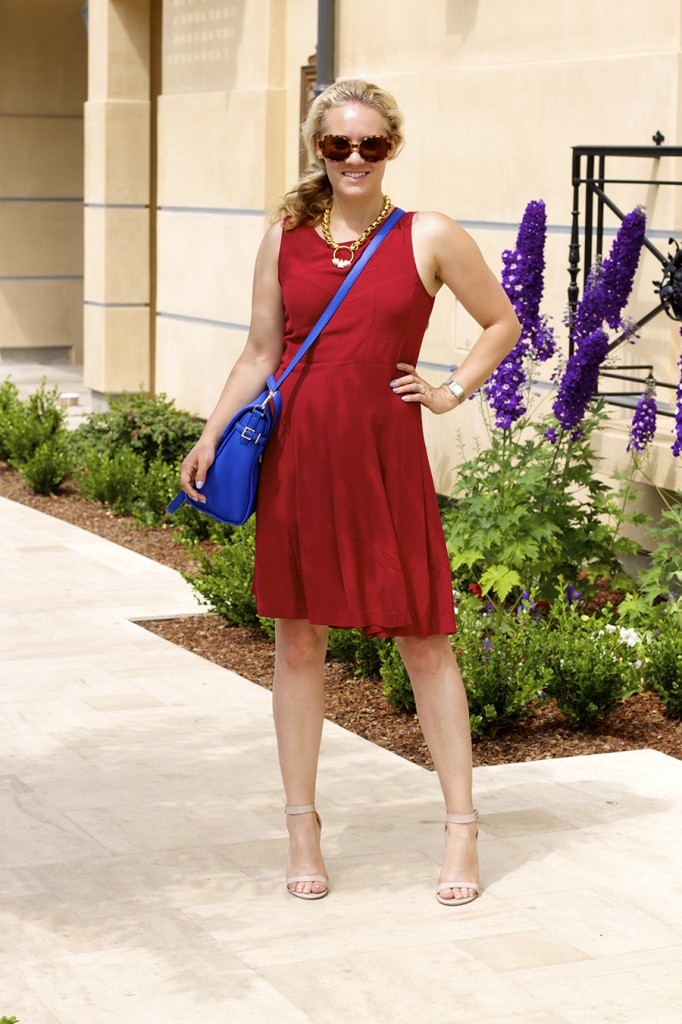 Theory Dress Lizzie Fortunato Kate Spade Handbag Fashion Blogger 4th of July Style Red White and Blue Outfit Inspiration 7