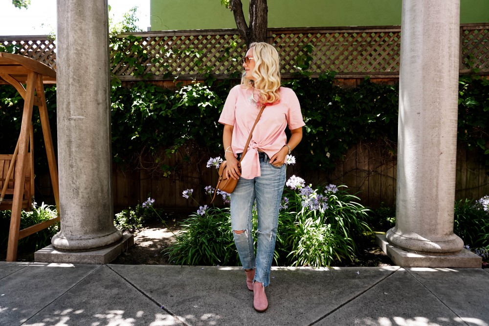 Tie Front Top-Nordstrom Anniversary Sale-NSale-BP Top-Lucky Brand Booties-Blush Suede Booties 5