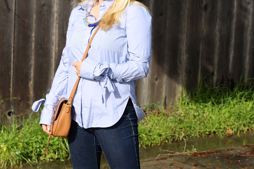 Tie Up Sleeve Blouse-Tibi Stripe Button Down-Outfit Inspiration-Have Need Want 6