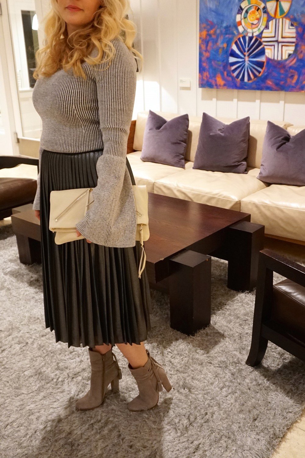Trumpet Bell Sleeve Sweater-Ted Baker-Who What Wear for Target-Outfit Inspiration-Metallic Pleated Skirt-Steve Madden Suede Boots-Have Need Want 9