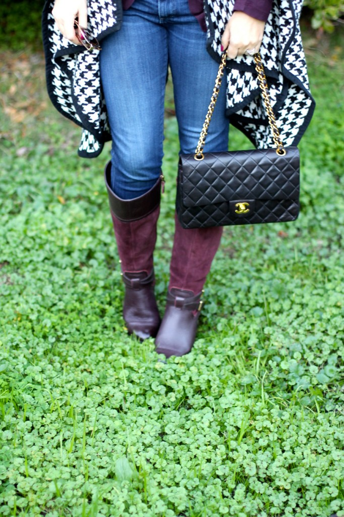 outfit inspiration-chanel handbag-kate spade-winter style-houndstooth ponch 5