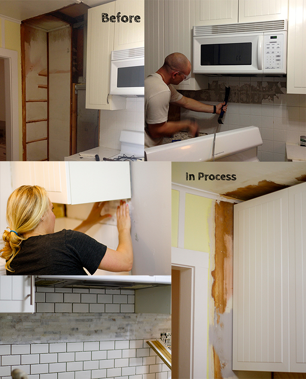 process collage of kitchen remodel